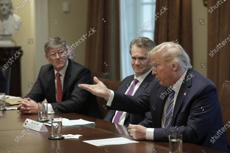 U.S. President Donald J. Trump (R) meets with bankers including Chairman of the Board and CEO Bank of America Brian Moynihan (2-R) and CEO of Citibank Michael Corbat (2-L) on COVID-19 coronavirus response at the White House in Washington, D.C., USA, 11 March 2020.