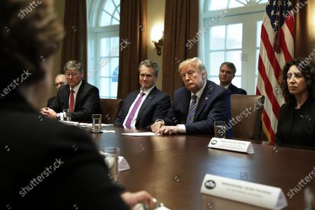 U.S. President Donald J. Trump (2-R) meets with bankers including Chairman of the Board and CEO Bank of America Brian Moynihan (2-L) and President and CEO of Independent Community Bankers of America Rebeca Romero Rainey (R) on COVID-19 coronavirus response at the White House in Washington, D.C., USA, 11 March 2020.