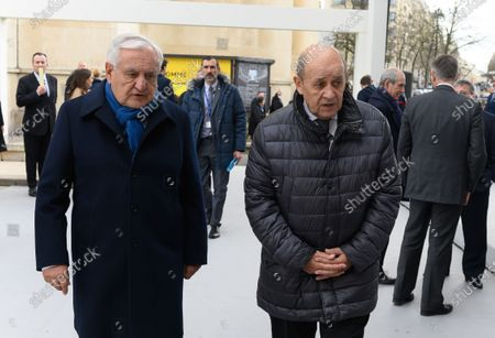 Jean-Pierre Raffarin and French Foreign Minister Jean-Yves Le Drian at a ceremony to honour victims of terrorism at the Esplanade du Trocadero on France's first national day of tribute to the victims of terrorism.