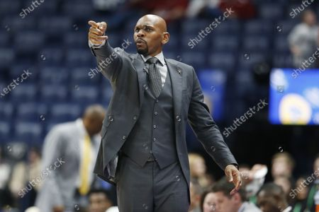 Vanderbilt head coach Jerry Stackhouse directs his players in the second half of an NCAA college basketball game against Arkansas in the Southeastern Conference Tournament, in Nashville, Tenn. Arkansas won 86-73