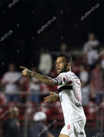 Daniel Alves of Sao Paulo celebrates after scoring during the Copa Libertadores group D soccer match between Sao Paulo and LDU Quito at the Morumbi Stadium in Sao Paulo, Brazil, 11 March 2020.