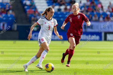 Spain's Ainhoa Moraza (3) controls the ball in front of England's Toni Duggan (11) during the first half of a SheBelieves Cup soccer match, in Frisco, Texas