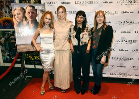 """Stock Photo of Katharine O'Brien, second from left, writer/director of """"Lost Transmissions,"""" poses with cast members Juno Temple, far left, and Rebecca Hazlewood, second from right, and producer Tory Lenosky at a special screening of the film at the Los Angeles Film School, in Los Angeles"""