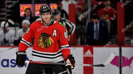 Chicago Bulls' Patrick Kane (88) looks on during the third period of an NHL hockey game against the San Jose Sharks, in Chicago. Chicago won 6-2