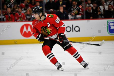 Chicago Blackhawks' Patrick Kane (88) skates during the first period of an NHL hockey game against the San Jose Sharks, in Chicago. Chicago won 6-2