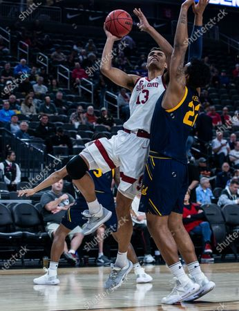 Stanford Cardinal forward Oscar da Silva (13) drives to the basket during the NCAA Pac12 Men's Basketball Tournament between Stanford Cardinal and the California Golden Bears 51-63 lost at T- Mobile Arena Las Vegas, NV. Thurman James / CSM