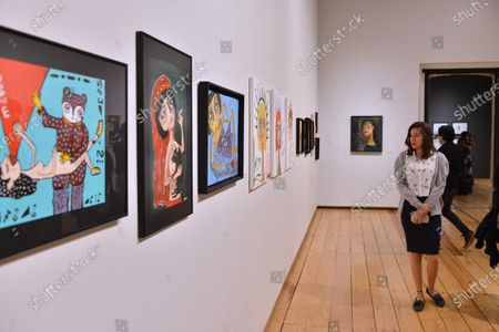 """Artworks of Mon Laferte seen during the opening of art exhibition """" Gestos """" are exhibited 70 paintings as part of Women's Time Festival for Equality at Museo de la Ciudad"""