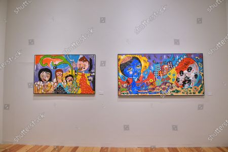 """Stock Picture of Artworks of Mon Laferte seen during the opening of art exhibition """" Gestos """" are exhibited 70 paintings as part of Women's Time Festival for Equality at Museo de la Ciudad"""