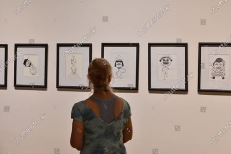 """Stock Photo of Artworks of Mon Laferte seen during the opening of art exhibition """" Gestos """" are exhibited 70 paintings as part of Women's Time Festival for Equality at Museo de la Ciudad"""