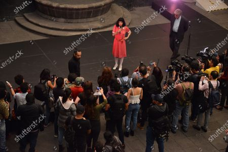 """Stock Image of Chilean activist and singer Mon Laferte speaks during the opening of her art exhibition """" Gestos """" are exhibited 70 paintings as part of Women's Time Festival for Equality at Museo de la Ciudad"""