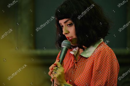 """Chilean activist and singer Mon Laferte speaks during the opening of her art exhibition """" Gestos """" are exhibited 70 paintings as part of Women's Time Festival for Equality at Museo de la Ciudad"""