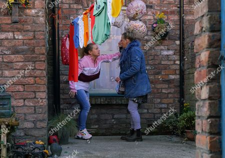 Ep 10039 Monday 23rd March 2020 - 2nd Ep As the babies continue to cry, a panic stricken Gemma Winter, as played by DOLLY-ROSE CAMPBELL, tries to break the door down. Arriving with Mother's Day balloons, Bernie Winter's, as played by JANE HAZLEGROVE, shocked to find Gemma in such a distressed state.