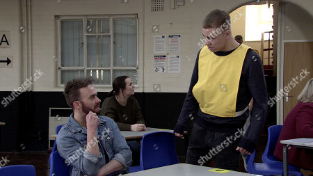 Stock Picture of Ep 10038 Monday 23rd March 2020 - 1st Ep David Platt, as played by JACK P SHEPHERD, visits Clayton Hibbs, as played by CALLUM HARRISON, in prison and implores him to leave Shona alone but clearly enjoying David's misery, Clayton assures him that's not going to happen.