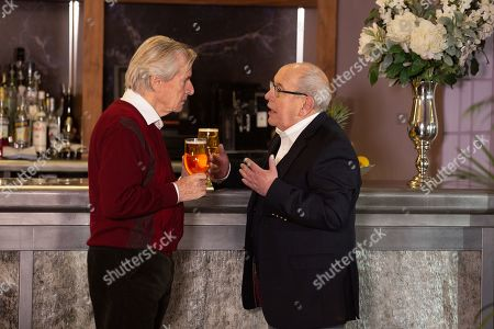 Stock Picture of Ep 10033 Monday 16th March 2020 - 2nd Ep Having sabotaged Ken Barlow's, as played by WILLIAM ROACHE, talk and suggesting they head to the bar, Norris Cole, as played by MALCOLM HEBDEN, reveals that he and Freda moved into Stillwaters several weeks ago. Making sure Freda can't read his lips, Norris admits to Ken that he can't stand Stillwaters and needs his help to escape. Ken's shocked.