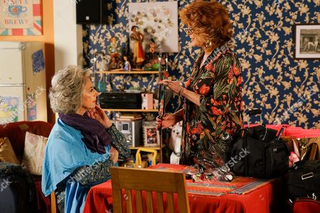 Ep 10036 & Ep 10037 Friday 20th March 2020 Evelyn Plummer, as played by MAUREEN LIPMAN, eserves a booth in the Rovers for her date with Arthur and Claudia Colby, as played by RULA LENSKA, offers to do her hair and makeup. But when Evelyn looks in the mirror she's horrified to realise she looks just like Claudia!