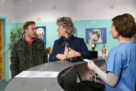 Ep 10033 Monday 16th March 2020 - 2nd Ep Evelyn Plummer, as played by MAUREEN LIPMAN, and Tyrone Dobbs, as played by ALAN HALSALL, take Cerberus to the vets. As Evelyn pays the bill, she's taken aback when her old flame Arthur Medwin, as played by PAUL COPLEY, enters the surgery with his cockapoo. Tyrone watches in amusement at their interaction.