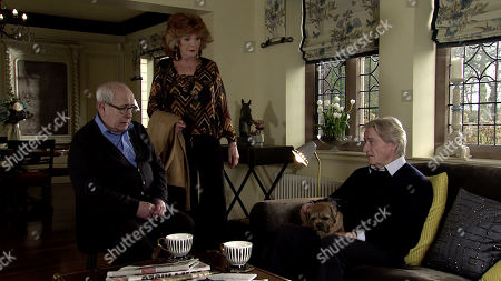 Stock Photo of Ep 10040 Wednesday 25th March 2020 - 1st Ep Ken Barlow, as played by WILLIAM ROACHE, has smuggled Eccles into his apartment and Charles soon issues a fine. With Norris Cole, as played by Malcolm Hebden, Claudia Colby, as played by Rula Lenska.