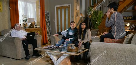 Ep 10041 Wednesday 25th March 2020 - 2nd Ep Alya Nazir, as played by SAIR KHAN, and Ryan Connor, as played by RYAN PRESCOTT, tell Yasmeen that Zeedan is getting married in Spain and has invited them to the wedding. When Geoff Metcalfe, as played by IAN BARTHOLOMEW, asserts they can't abandon the restaurant, Alya explains he's not on the guest list. Having summoned Alya to No.6, Geoff takes great pleasure in announcing that he too will be attending the wedding and has booked a hotel. Alya's seething. Also pictures Yasmeen Metcalfe, as played by SHELLEY KING.