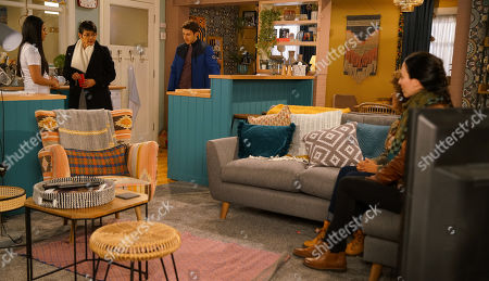 Ep 10038 Monday 23rd March 2020 - 1st Ep Making out that something terrible has happened, Ryan Connor, as played by RYAN PRESCOTT, drags Yameen Metcalfe, as played by SHELLEY KING, to their flat where Alya Nazir, as played by SAIR KHAN, introduces her to a police woman who has information about Geoff Metcalfe, as played by IAN BARTHOLOMEW.