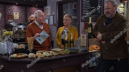 Stock Photo of Ep 8766 Wednesday 26th March 2020 Pollard, as played by Chris Chittell, and Brenda Hope, as played by Lesley Dunlop, welcome everyone to the cafe's menu relaunch but Dan and Matty get carried away with the free booze. With Jimmy King, as played by Nick Miles.