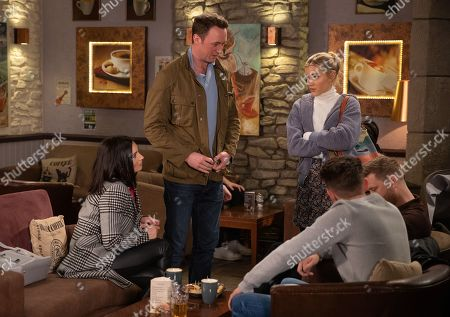 Ep 8765 Tuesday 24th March 2020 Leanna Cavanagh's, as played by Mimi Slinger, suspicions about Liam Cavanagh, as played by Jonny McPherson, and Leyla Harding, as played by Rokhsaneh Ghawam-Shahidi, are confirmed when she clocks Leyla flirting with him at the cafe.
