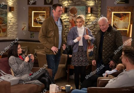 Ep 8765 Tuesday 24th March 2020 Leanna Cavanagh's, as played by Mimi Slinger, suspicions about Liam Cavanagh, as played by Jonny McPherson, and Leyla Harding, as played by Rokhsaneh Ghawam-Shahidi, are confirmed when she clocks Leyla flirting with him at the cafe. With Eric Pollard, as played by Chris Chittell.