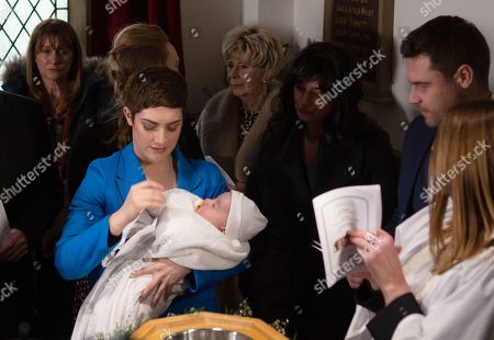 Ep 8764 Monday 23th March 2020 At the babies joint Christening  it all becomes too much for Wendy Posner, as played by Susan Cookson, she breaks down in tears, overcome with grief for the son she's lost. With Victoria Sugden, as played by Isabel Hodgins ; Diane Sugden, as played by Elizabeth Estensen ; Aaron Livesy, as played by Danny Miller.