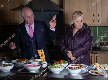 Stock Image of Ep 8764 Monday 23th March 2020 Pollard, as played by Chris Chittell, impresses Brenda Hope, as played by Lesley Dunlop, with his healthy snacks and proposes she try them out. Jacob starts to suspect that Pollard might like Brenda a little more than he's making out.