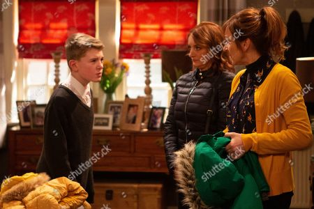 Ep 8758 Monday 16th March 2020 Laurel Thomas, as played by Charlotte Bellamy, makes Arthur Thomas, as played by Alfie Clarke, apologise to Nicola King, as played by Nicola Wheeler, for the trouble he's caused but soon secretly his campaign against Archie Breckle is back with a vengeance.