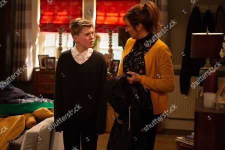 Ep 8758 Monday 16th March 2020 Laurel Thomas, as played by Charlotte Bellamy, makes Arthur Thomas, as played by Alfie Clarke, apologise to Nicola King for the trouble he's caused but soon secretly his campaign against Archie Breckle is back with a vengeance.