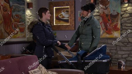 Ep 8763 Friday 20th March 2020 Moira Dingle, as played by Natalie J Robb, is made up when Victoria Sugden, as played by Isobel Hodgins, asks her to be Harry's godfather.