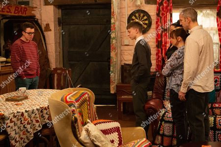Ep 8758 Monday 16th March 2020 When the Dingles believe Vinny, as played by Bradley Johnson, has pawned Sam Dingle's, as played by James Hooton, ring they order him out of the house. Could they learn something else about Vinny in the process?