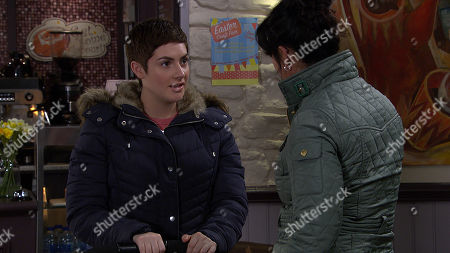 Ep 8763 Friday 20th March 2020 Moira Dingle, as played by Natalie J Robb, is made up when Victoria Sugden, as played by Isobel Hodgins, asks her to be Harryâ?'s godfather.