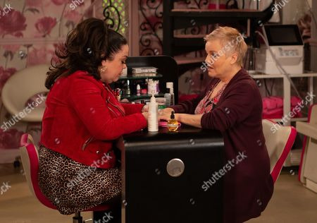 Stock Picture of Ep 8760 Wednesday 18th March 2020 Brenda Hope, as played by Lesley Dunlop, is suspicious Mandy Dingle, as played by Lisa Riley, has done something with the money - will she take it further?