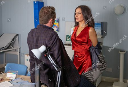 Ep 8762 Thursday 19th March 2020 - 2nd Ep Frustrated their relationship keeps getting interrupted Leyla Harding, as played by Rokhsaneh Ghawam-Shahidi, arrives at Liam Cavannagh's, as played by Jonny McPherson, practice wearing nothing but a faux-fur coat with underwear underneath. Will her ploy work?