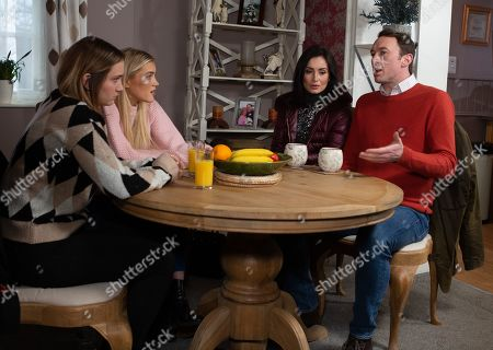 Ep 8767 Thursday 27th March 2020 - 1st Ep Liam Cavanagh, as played by Jonny McPherson, and Leyla Harding, as played by Rokhsaneh Ghawam-Shahidi, try to explain their relationship to an upset Gabby Thomas, as played by Rosie Bentham, and dismissive Leanna Cavanagh, as played by Mimi Slinger, but when Leanna insists Liam choose between her and Leyla...what will Liam do?