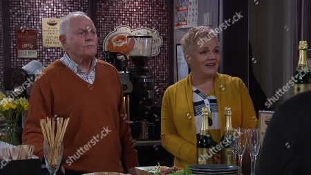 Ep 8766 Wednesday 26th March 2020 Pollard, as played by Chris Chittell, and Brenda Hope, as played by Lesley Dunlop, welcome everyone to the cafe's menu relaunch but Dan and Matty get carried away with the free booze.