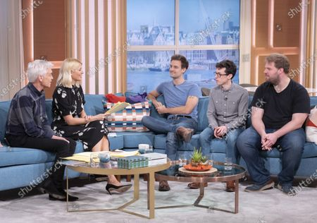 Stock Photo of Phillip Schofield and Holly Willoughby with Henry Shields, Jonathan Sayer and Henry Lewis