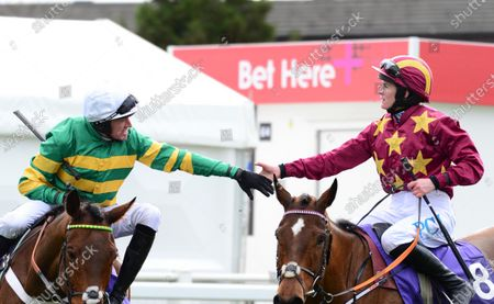 Cheltenham. RSA Insurance Novices' Chase (Grade 1) CHAMP and Barry Geraghty are congratulated by Rachael Blackmore on Minella Indo after win for trainer Nicky Henderson and owner JP McManus.