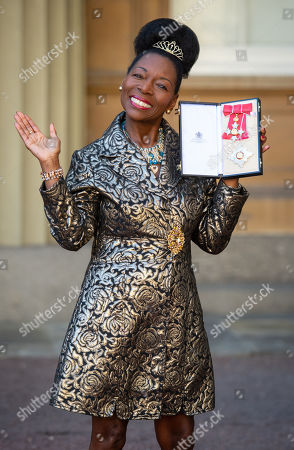Floella Benjamin with her Dame Commander medal, after being awarded her damehood at an investiture ceremony at Buckingham Palace
