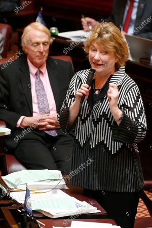 Stock Photo of Senate finance committee chairwoman, Sen. Janet Howell, D-Fairfax, right, address the members of the Senate as Sen. George Barker, D-Fairfax, left, listens during the Senate session at the Capitol Thursday March 12, 2020, in Richmond, Va