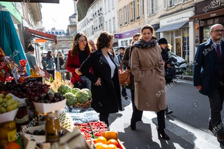 Former French Health Minister and La Republique En Marche (LREM) party's mayoral candidate for Paris Agnes Buzyn (R) and 9th district candidate Delphine Burkli (L) visit a shopping neighborhood as part of the election campaign in Paris, France, 12 March 2020. Buzyn, who belongs to the party ruling the national executive led by President Emmanuel Macron, replaced former candidate Benjamin Griveaux, who dropped out from the race on 14 February amid a sexual imagery-related scandal. The upcoming French municipal elections are scheduled for 15 and 22 March 2020, corresponding with the first and second rounds of voting, respectively.