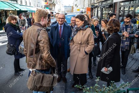 Former French Health Minister and La Republique En Marche (LREM) party's mayoral candidate for Paris Agnes Buzyn (C) visits a shopping neighborhood as part of the election campaign in Paris, France, 12 March 2020. Buzyn, who belongs to the party ruling the national executive led by President Emmanuel Macron, replaced former candidate Benjamin Griveaux, who dropped out from the race on 14 February amid a sexual imagery-related scandal. The upcoming French municipal elections are scheduled for 15 and 22 March 2020, corresponding with the first and second rounds of voting, respectively.