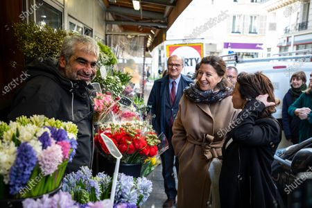Former French Health Minister and La Republique En Marche (LREM) party's mayoral candidate for Paris Agnes Buzyn (2-R) visits a shopping neighborhood as part of the election campaign in Paris, France, 12 March 2020. Buzyn, who belongs to the party ruling the national executive led by President Emmanuel Macron, replaced former candidate Benjamin Griveaux, who dropped out from the race on 14 February amid a sexual imagery-related scandal. The upcoming French municipal elections are scheduled for 15 and 22 March 2020, corresponding with the first and second rounds of voting, respectively.