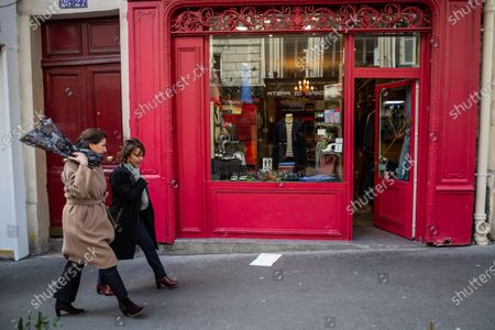 Stock Image of Former French Health Minister and La Republique En Marche (LREM) party's mayoral candidate for Paris Agnes Buzyn (L) and 9th district candidate Delphine Burkli (R) visit a shopping neighborhood as part of the election campaign in Paris, France, 12 March 2020. Buzyn, who belongs to the party ruling the national executive led by President Emmanuel Macron, replaced former candidate Benjamin Griveaux, who dropped out from the race on 14 February amid a sexual imagery-related scandal. The upcoming French municipal elections are scheduled for 15 and 22 March 2020, corresponding with the first and second rounds of voting, respectively.