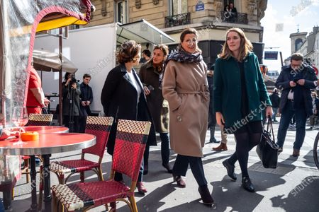 Former French Health Minister and La Republique En Marche (LREM) party's mayoral candidate for Paris Agnes Buzyn (C) and 9th district candidate Delphine Burkli (L) visit a shopping neighborhood as part of the election campaign in Paris, France, 12 March 2020. Buzyn, who belongs to the party ruling the national executive led by President Emmanuel Macron, replaced former candidate Benjamin Griveaux, who dropped out from the race on 14 February amid a sexual imagery-related scandal. The upcoming French municipal elections are scheduled for 15 and 22 March 2020, corresponding with the first and second rounds of voting, respectively.