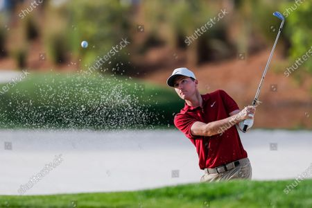 Russell Henley of the US on the fifteenth hole during the first round for THE PLAYERS Championship golf tournament at the TPC Sawgrass Stadium Course in Ponte Vedra Beach, Florida, USA, 12 March 2020. The tournament runs through 15 March.
