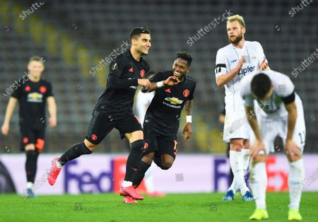 Stock Picture of Manchester United's Andreas Pereira (C-L) celebrates after scoring the 5-0 lead during the UEFA Europa League round of 16, first leg soccer match between LASK Linz and Manchester United in Linz, Austria, 12 March 2020.
