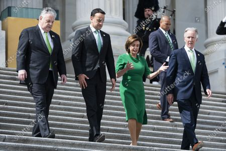 Ireland's Taoiseach (Prime Minister) Leo Varadkar (C-L) and Democratic Speaker of the House from California Nancy Pelosi (C-R), along with Republican Representative from New York Peter King (L) and Democratic Representative from Massachusetts Richard Neal (R), leave the US Capitol after a luncheon in Washington, DC, USA, 12 March, 2020. On 11 March, President Trump announced a travel ban between the United States and Europe for non citizens.