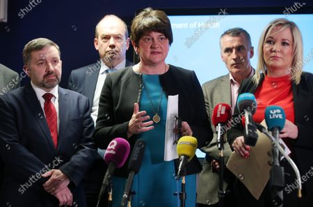 Stock Picture of Health Minister Robin Swan, First minister Arlene Foster, Deputy Forst Minister Michelle O'Neill with Chief Medical Officer Dr Michael McBride(back left) and Jnr Minister Declan Kearney (back right) speak at a press conference following the meeting.